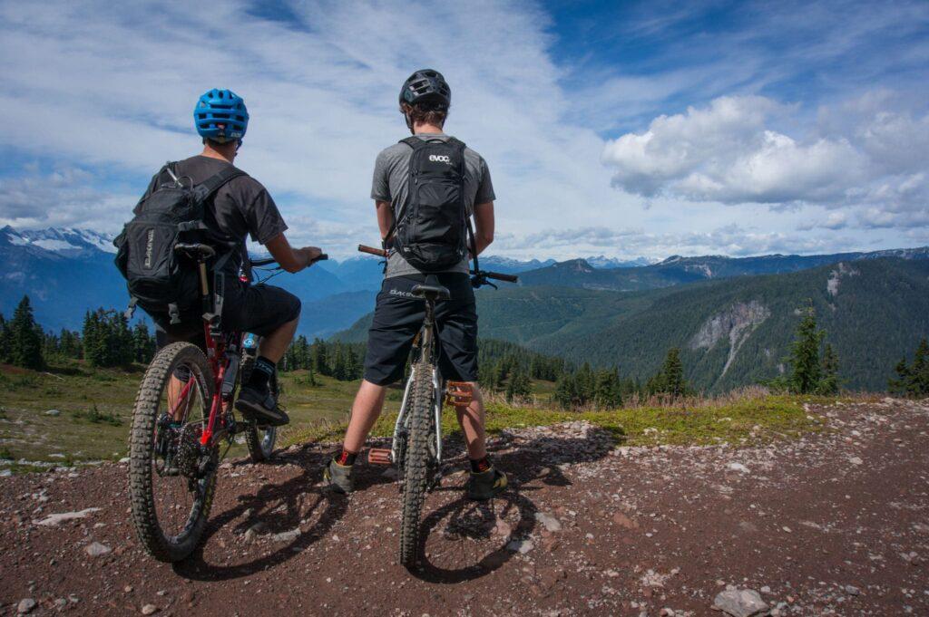 Riding bikes nearby Squamish, British Columbia