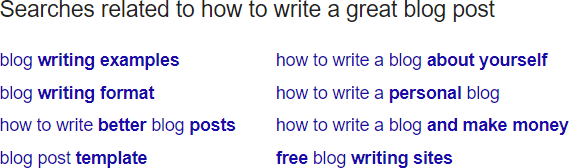 Want to know how to research a blog post? Use Google related searches!