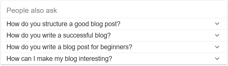 "When writing a blog post outline, use Google's ""People also asked"" feature in your research"