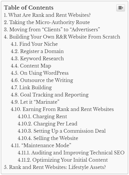 A well structured blog post table of contents