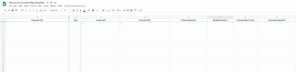 My simple keyword mapping worksheet template