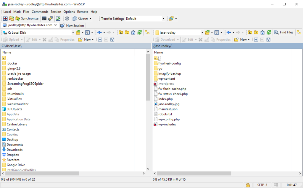 Flywheel hosting using SFTP through WinSCP