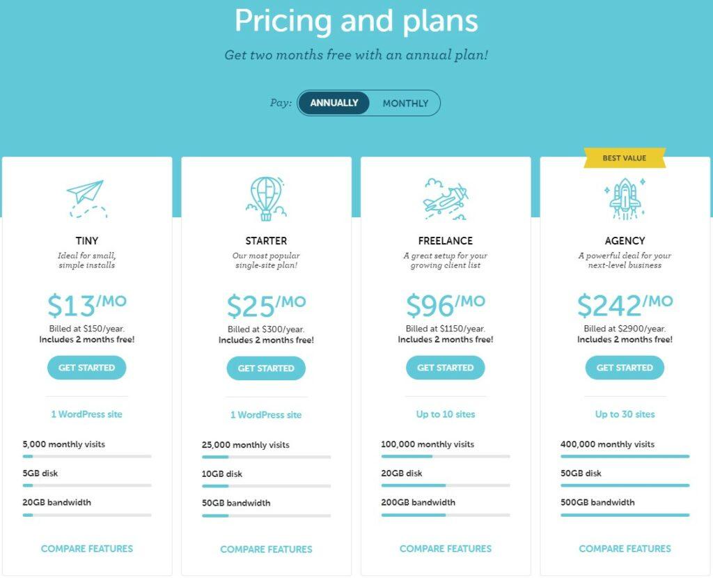 Flywheel's hosting pricing and plans