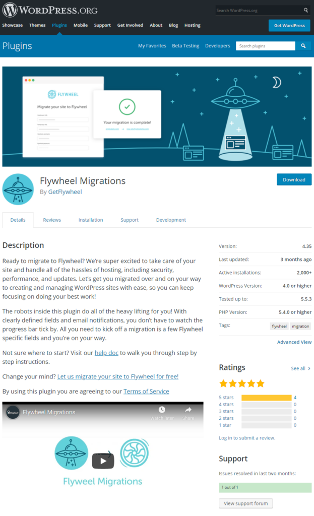 Flywheel's official WordPress migration plugin