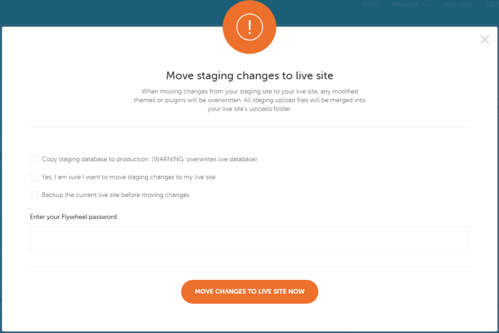 Moving staging changes to your live site