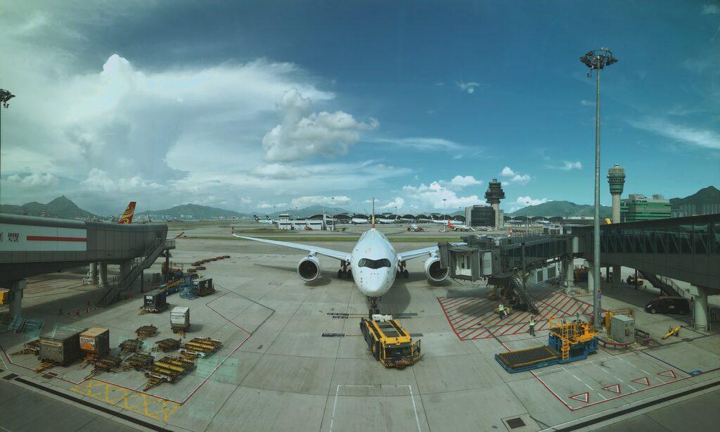 Plane at Hong Kong Airport
